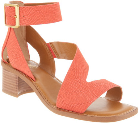 Franco Sarto Leather Block Heel Sandals - Lorelia