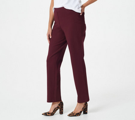 """As Is"" Susan Graver Petite Ponte Straight Leg Pull-On Leg Pants"