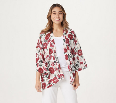 Laurie Felt Open Front Printed Kimono