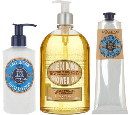 L'Occitane Almond Shower Gel Shea Hand Cream & Body Lotion