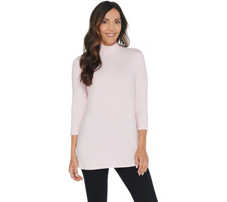 H By Halston Essentials Mock Neck 3 4 Sleeve Tunic