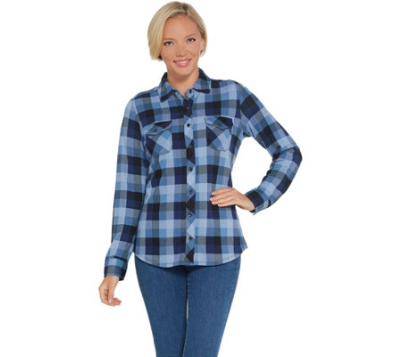 Denim & Co. Plaid Brushed Heavenly Jersey Button Front Long-Sleeve Top