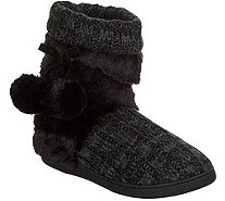 MUK LUKS Michelle Knit Slipper Boot with Faux Fur Lining - A342643
