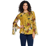 Vince Camuto Long Flutter Sleeve Autumn Botanic Blouse - A343743