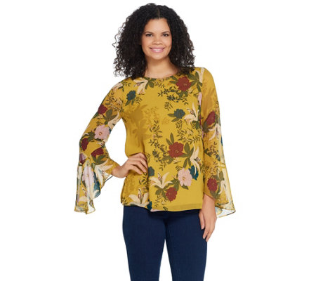 Vince Camuto Long Flutter Sleeve Autumn Botanic Blouse