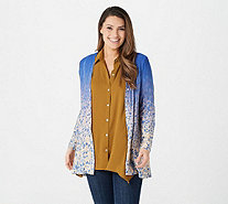 LOGO by Lori Goldstein Printed Ombre Knit Button Front Cardigan - A343843
