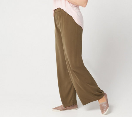 LOGO by Lori Goldstein Woven Washed Modal Wide-Leg Pull-On Pant
