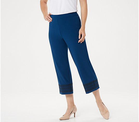 Dennis Basso Regular Caviar Crepe Pull-On Cropped Pants