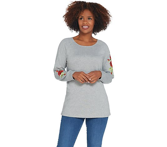 """As Is"" Quacker Factory Floral Embroidered Raglan Sleeve Knit Top"