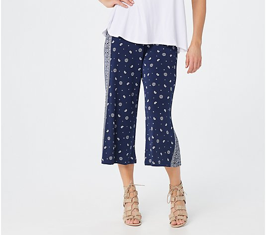 Denim & Co. Printed Jersey Pull-On Wide-Leg Crop Pants