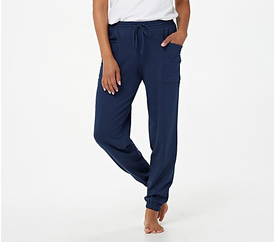 AnyBody Petite Cozy Knite French Terry Paperbag Sweatpant