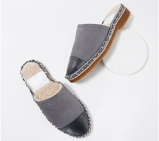 Laurie Felt Suede Shearling Lined Slip On Mules