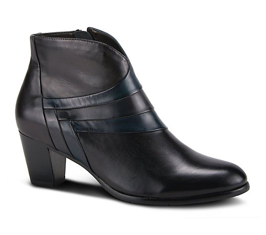 Spring Step Tapered Block Heel Leather Booties- Cascalla