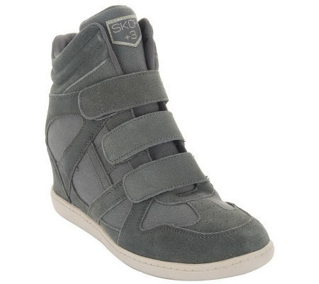 93a1b1eff9c Skechers SKCH Plus 3 Hidden Wedge High-top Sneakers - Page 1 — QVC.com