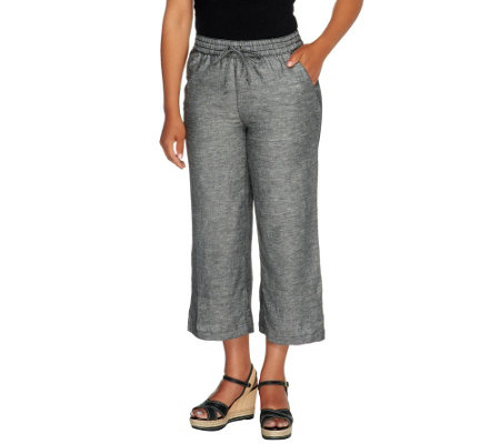 Liz Claiborne New York Regular Cropped Linen Pants