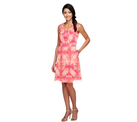 Isaac Mizrahi Live! Sleeveless Tie Dye Printed Dress