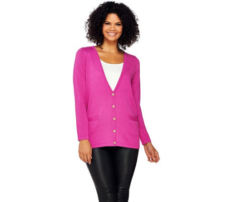 Joan Rivers Wardrobe Builders Button Front Boyfriend Cardigan