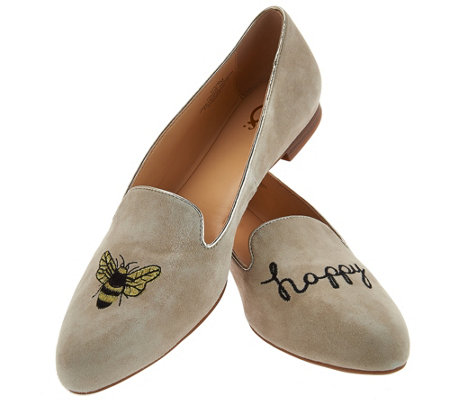 "C. Wonder ""Bee Happy"" Embroidered Suede Loafers - Celeste"
