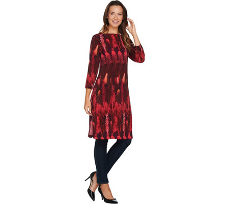 Attitudes by Renee Petite Feather Printed Duster with Side Slits