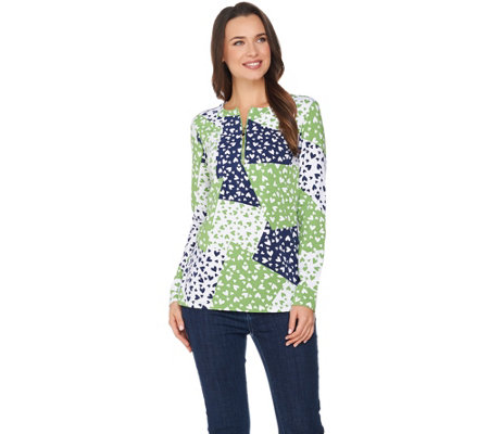 Susan Graver Weekend Printed Cotton Modal Half Zip Top