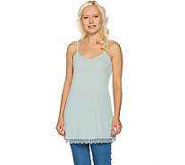 LOGO by Lori Goldstein Pique Knit Camisole with Lace at Hem - A290244