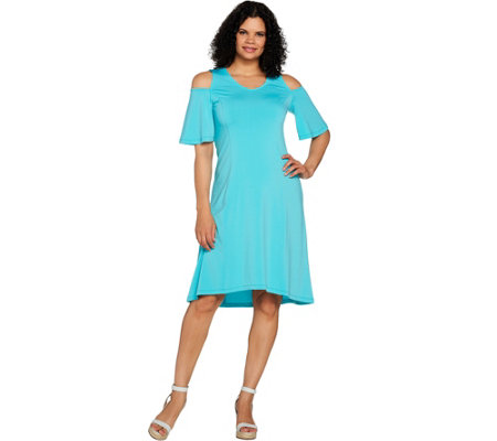 H by Halston Regular Jet Set Jersey Cold Shoulder Hi-Low Hem Dress