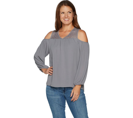 Laurie Felt Lace Cold Shoulder Blouse