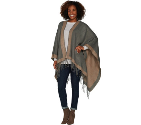 Attitudes by Renee Poncho Wrap with Fringe Detail