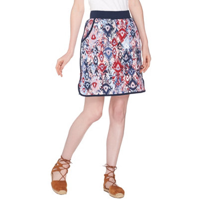 """As Is"" Denim & Co. Active French Terry Ikat Printed Pull-On Skort"