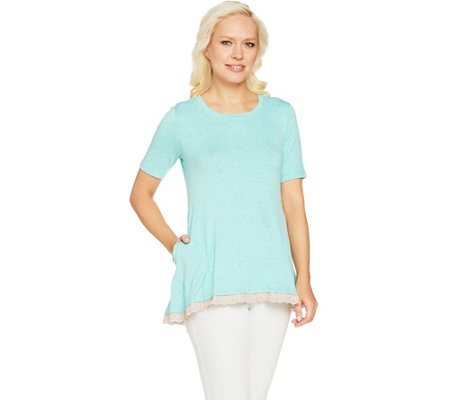 """As Is"" LOGO by Lori Goldstein Heather Crepe Knit Top with Eyelet Trim"