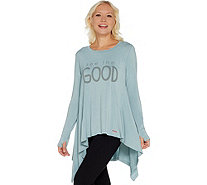 Peace Love World Long Sleeve Parachute Top w/ Affirmation - A301544