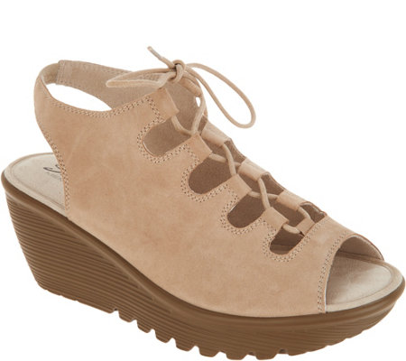 Skechers Suede Lace-Up Peep-Toe Wedges