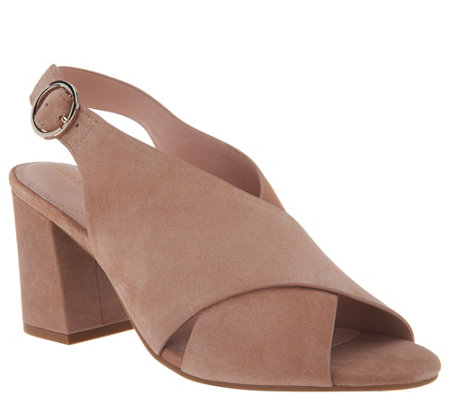 Taryn Rose Suede Block Heeled Sandals - Lenora