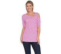 Isaac Mizrahi Live! Gingham Print One-Shoulder Knit Top - A305744