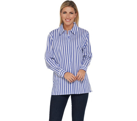 BROOKE SHIELDS Timeless Striped Stretch Poplin Shirt
