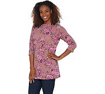 Denim & Co. Printed Brushed Heavenly Jersey Tunic with Zipper Cuff - A309344