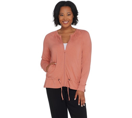 3a660fd6d32 AnyBody Loungewear Cozy Knit Zip-up Jacket with Drawstring. Back to video