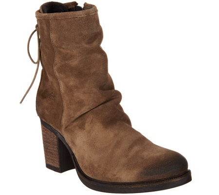 """As Is"" Bos. & Co. Water Resistant Suede Ankle Boots - Barlow"