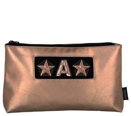 Apatchy London Rose Gold Large Size Beauty Bag with Initial