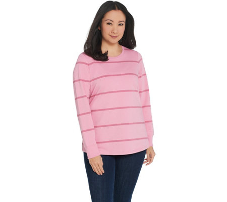 Denim Co Active Striped French Terry Top With Rib Trim