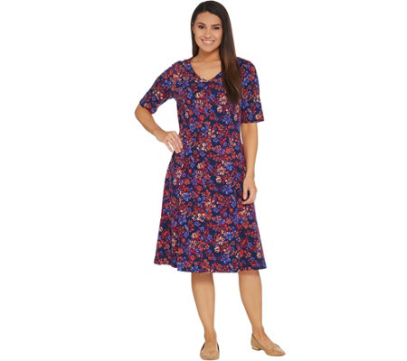 """As Is"" Denim & Co. V-Neckline Fit & Flare Elbow-Sleeve Printed Dress"