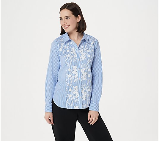 Linea by Louis Dell'Olio Shirt with Lace Applique & Embroidery