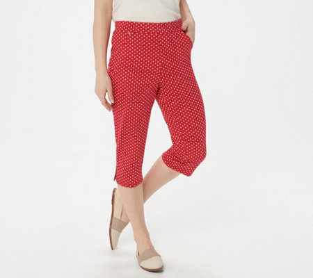 Quacker Factory French Terry Polka Dot Printed Knit Capri Pants