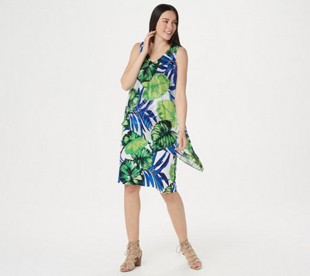 Susan Graver Printed Liquid Knit Dress with Printed Overlay