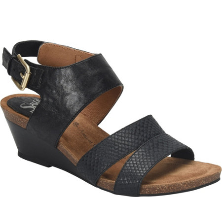 Sofft Leather Wedge Sandals - Velden