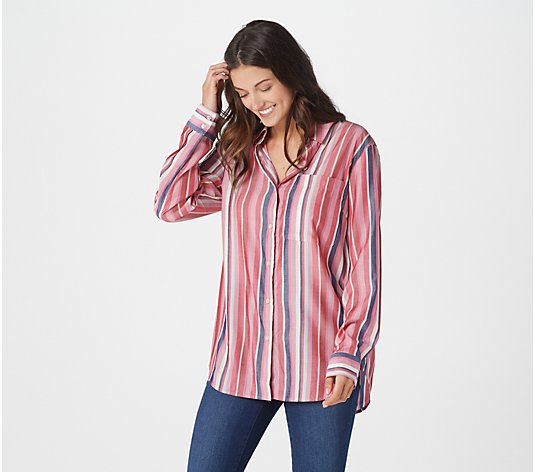 Laurie Felt Stripe and Solid Button-Down Blouse