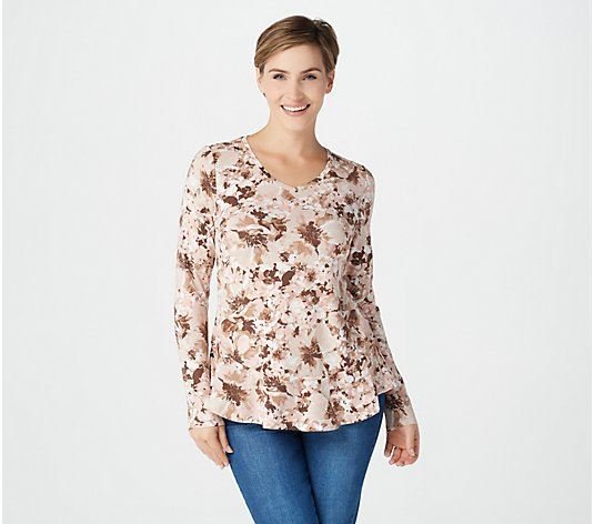 Isaac Mizrahi Live! Floral Printed Ruffle Curved Hem Knit Top