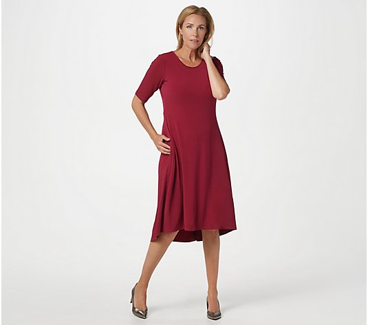 """As Is"" Susan Graver Liquid Knit Elbow- Sleeve Dress with Pockets"