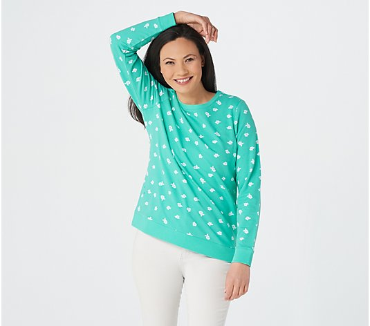 Denim & Co. Printed French Terry Crew Neck Top