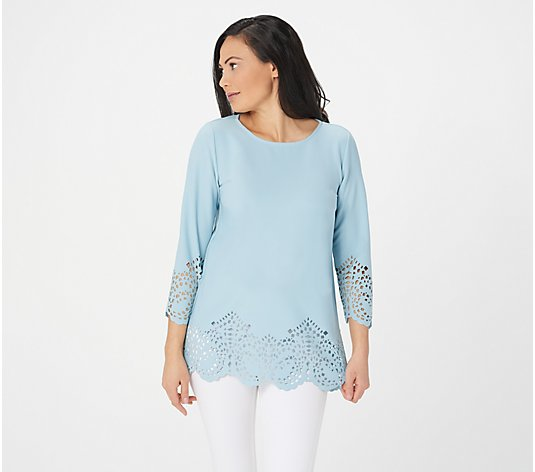 """As Is"" Dennis Basso Luxe Crepe 3/4- Sleeve Laser Cut Top w/ Foil"